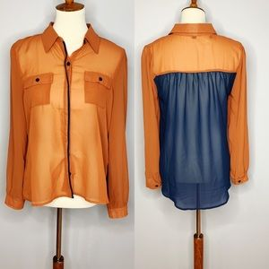 MINE Sheer Button Down High Low Blouse NWOT